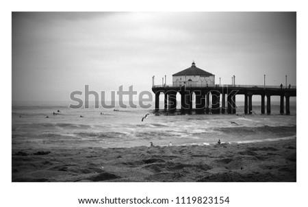 Manhatten Beach Pier, Pier Black and White #1119823154
