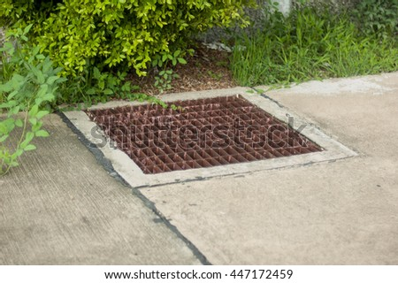 Manhole Cover Metal, Rustic Square Manhole Drain Cover In The Street, Steel  Grill Sewer