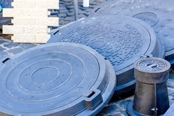 Manhole Sewer . manhole covers. environmentally friendly hatches. exhibition sale of hatches