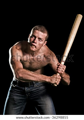 Maniac with bat - stock photo