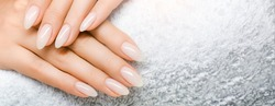 Manicure and Hands Spa. Beautiful Woman hand closeup. Manicured nails and Soft hands skin wide banner. Beauty treatment. Beautiful woman's nails with beautiful baby boomer manicure copy space for