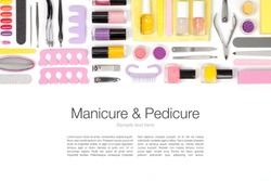 manicure and pedicure set on white background