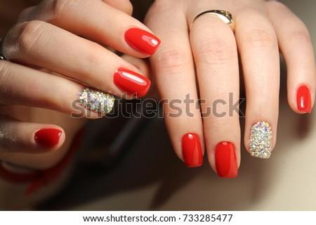 Manicure Design Gel Varnish Red Nails With Rhinestones Ez Canvas