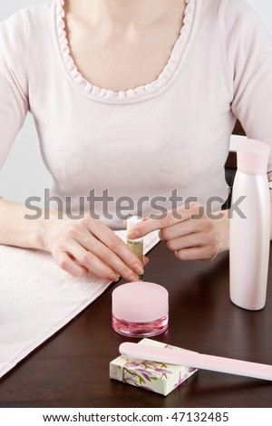 Manicure on female hands. #47132485