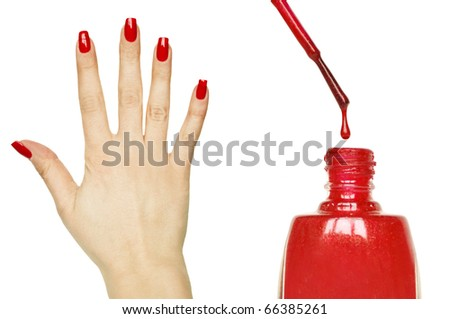 Manicure set - Beautiful red manicured woman hand and nail polish