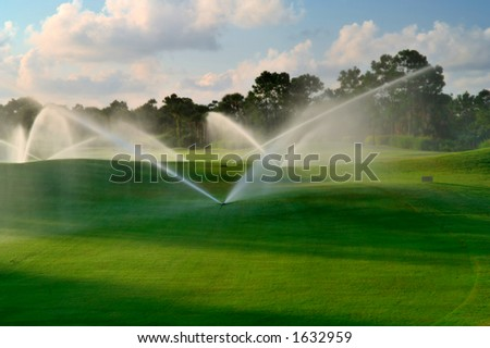 manicured florida golf course gets irrigated in morning