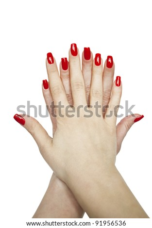 Manicured woman hands isolated on white background