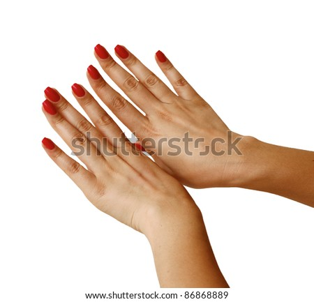 Manicured woman's hands isolated on white