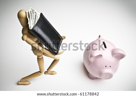 Manikin carrying a wallet full of money towards a piggy bank