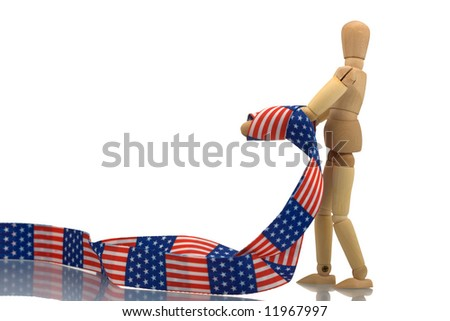 Manikin hands tied with US patterned tape