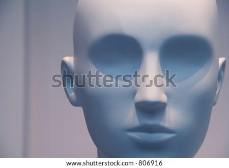 Manikin head in blue - stock photo