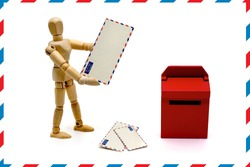 MANIKIN WITH LETTERS AND RED MAILBOX WITH AIRMAIL BORDER. USABLE FOR EMAIL, WEBSITE CONTACT AND SHIPMENTS IN GENERAL.