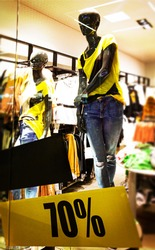 manikins dressed with signal Sale T-shirts