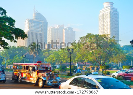 MANILA - APRIL 01, 2012: Morning traffic on the street in Manila, Philippines. Metro Manila is the most populous area in the Philippines with an estimated population of 16,300,000
