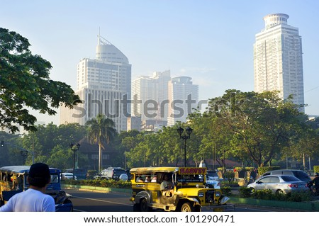 MANILA - APRIL 01: Morning traffic on the street  on April 01, 2012 in  Manila, Philippines. Metro Manila is the most populous  area in the Philippines with an estimated population of 16,300,000