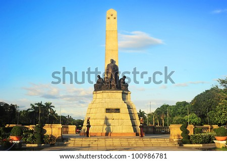 MANILA - APRIL 01: Rizal monument in Rizal park on April 01, 2012 in Manila, Philippines. The monument was built to commemorate the Filipino nationalist, Jose Rizal. The monument was unveiled in 1913