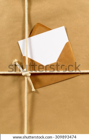 Manila envelope, blank address card or label on a package