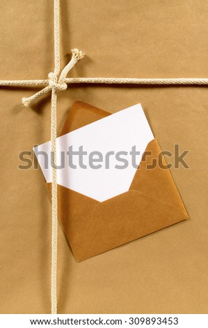 Manila envelope, blank address card or label on a package, copy space