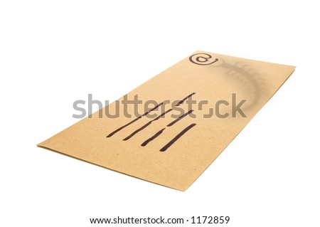 Manila Envelope used as a concept for email with the shadow of a bug (virus) attachment.