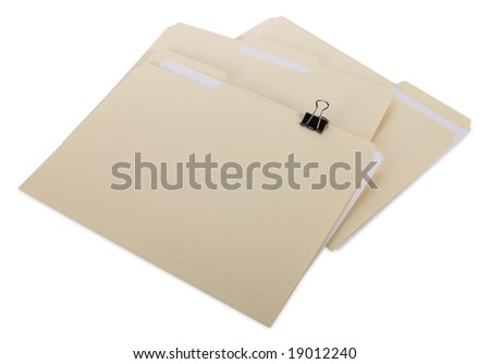 Manila file Folders with clipping path - stock photo