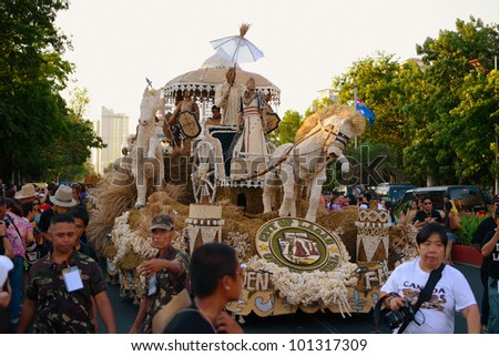 MANILA, PHILIPPINES - APR. 14: City of Laoag float made of garlic during Aliwan Fiesta, which is the biggest annual national festival competition on April 14, 2012 in Manila Philippines.