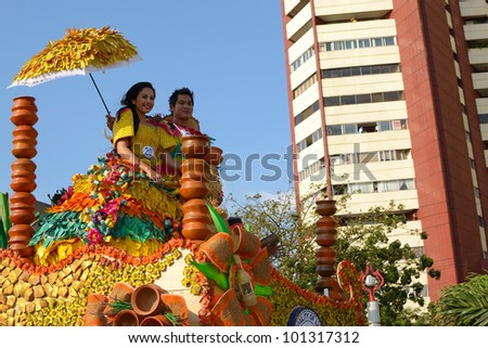 MANILA, PHILIPPINES - APR. 14: contestants in their cultural dress pauses during Aliwan Fiesta, which is the biggest annual national festival competition on April 14, 2012 in Manila Philippines.