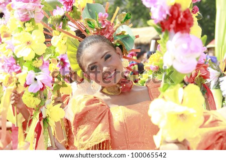 MANILA, PHILIPPINES APRIL 14: Contingent from different part of the country perform in The Aliwan Fiesta on April 14, 2012 in Manila. Aliwan celebrated with beauty pageant & street dance competition.