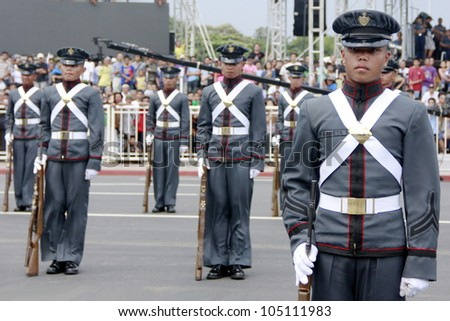 MANILA,PHILIPPINES-JUNE 12:Members of the Philippines armed forces  perform at The Philippines Independence day on June 12, 2012  in Manila. The Philippines celebrate the 114th Independence Day.