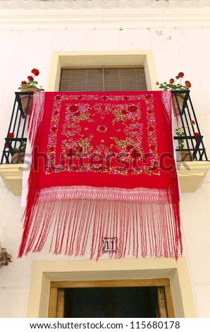 Manila Shawl in a balcony in Andalusia, Spain