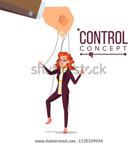 Manipulation Business Woman. Marionette Concept. Worker On Ropes. Dishonestly Under The Influence Of Boss. Unfair. Cartoon Illustration