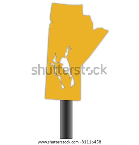 Manitoba map road sign isolated on a white background.