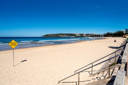 Manly Beach empty from beach goers and surfers due to Coronavirus.