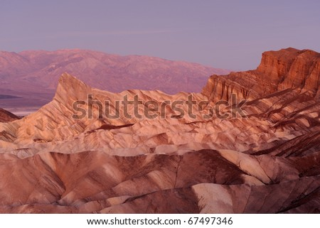 Manly Beacon as viewed from Zabriske Point in Death Valley National Park, California