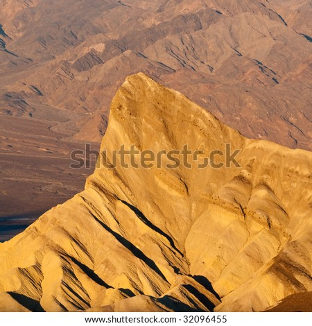 Manly Beacon at Sunrise in Death Valley National Park, California.