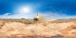 Manned rocket launch from the Baikonur Cosmodrome. 360 degrees panorama