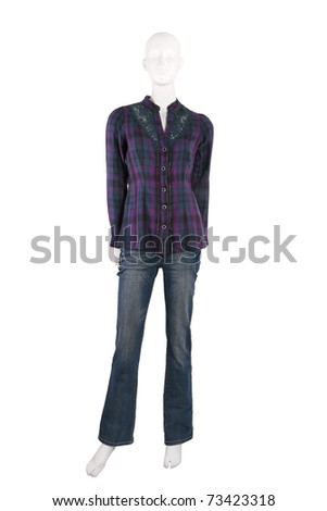 Mannequin dressed in shirt and blue jeans isolated on white