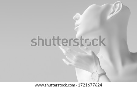 Mannequin earring Jewelry necklace display stand. Female Bust and elegant hand gesture model. Jewelry showcase white background. 3d rendering.