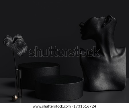 Mannequin earring Jewelry necklace display stand. Female Bust, black flower and  platforms. Jewelry showcase black background. 3d rendering.