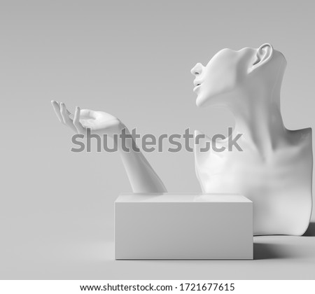 Mannequin earring Jewelry necklace display stand. Female Bust hand models and podium. Jewelry showcase white background. 3d rendering.