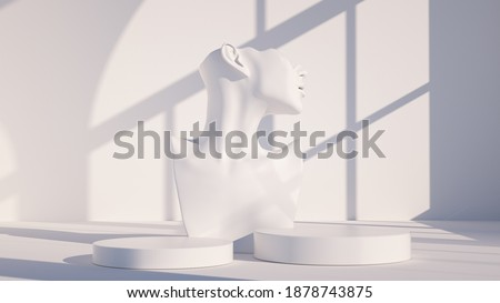 Mannequin earring Jewelry necklace display stand. Female Bust model and podium. Jewelry showcase white background. 3d rendering. Foto d'archivio ©