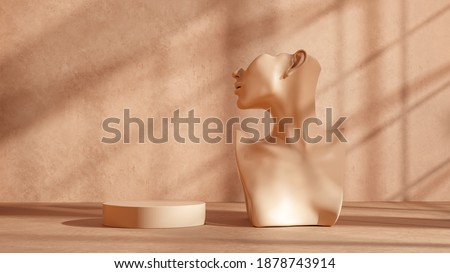 Mannequin earring Jewelry necklace display stand. Female Bust model and podium. Jewelry showcase beige background. 3d rendering. Foto stock ©