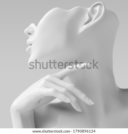 Mannequin earring Jewelry showcase template. Female Bust hand sculpture. Jewelry presentation woman profile white background. 3d rendering. Photo stock ©