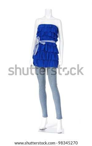 Mannequin fashion summer shirt with blue jeans