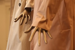 mannequin female hands in shop. Plastic fingers.