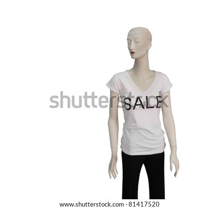 Mannequin in for Sale top isolated on white with space for text.