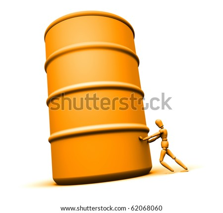 Mannequin pushing large 55 gallon oil drum. - stock photo
