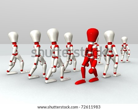 mannequins illustration walking in red and white color