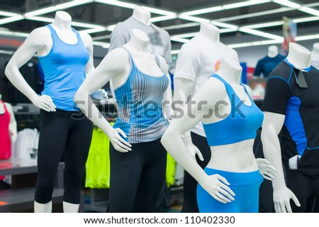 Mannequins in sport athletics suits in mall