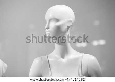 mannequins inside a fashion house In glass