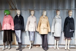 Mannequins lined up on the street
